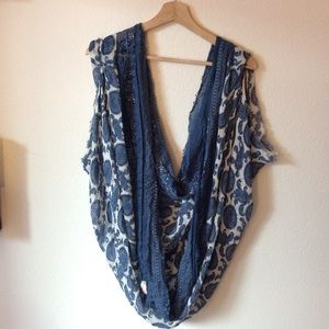 Free People Sleeved Paisley Poncho